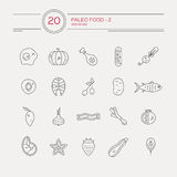 Paleo Food. Monocolor paleo food linear icon collection made in vector. Modern illustrations of fruits, vegetables, meat. Cave man diet and healthy food Stock Photography