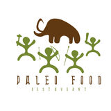 Paleo food vector illustration  mammoth and cavemans Stock Photos