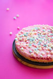 Paleo Gluten-free Cheesecake with Marshmallows for Party on Pink Background Stock Images
