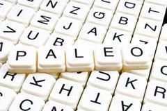 Paleo teksta słowa crossword Abecadło list blokuje gemowego tekstury tło Obraz Stock