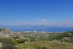Paleochora. View from the hill of Paleochora towards Aegina and Athens Royalty Free Stock Photos