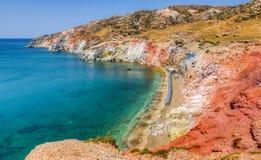 Paleochori海滩,芦粟海岛, Cyclades,希腊 免版税库存图片