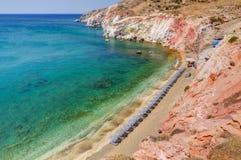 Paleochori海滩,芦粟海岛, Cyclades,希腊 免版税库存照片