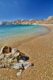 Paleochori (or Paliochori) beach. Milos. Cyclades islands. Greece. Milos or Melos is a volcanic Greek island in the Aegean Sea, just north of the Sea of Crete Stock Images
