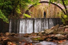 Paleokarya, Old, Stone, Arched Bridge, Between Two Waterfalls. Trikala Prefecture, Thessaly, Greece Stock Image