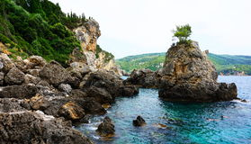 paleokastrica νησιών της Κέρκυρας Ελλάδα ακτών στοκ φωτογραφία