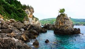 Paleokastrica Küste stockfotografie