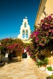 Paleokastritsa修道院,科孚岛海岛,希腊 免版税库存照片