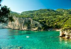 Paleokastritsa海湾,科孚岛海岛,希腊 库存图片
