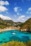 Paleokastritsa海湾,科孚岛,希腊 免版税库存图片