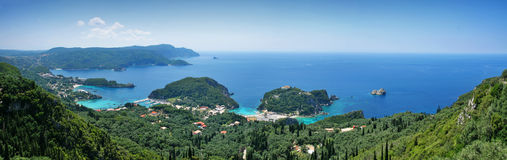 Paleokastritsa. On corfu island, greece - panorama view Royalty Free Stock Image