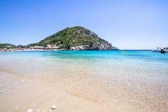 Paleokastritsa bay, Corfu, Greece. Agios Spyridon Bay on famous Paleokastritsa resort, Corfu, Greece Royalty Free Stock Photography