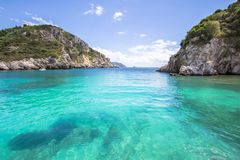 Paleokastritsa bay on Corfu, Greece. Famous Paleokastritsa bay on Corfu Island, Greece Stock Photo