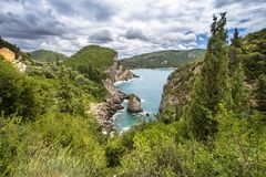 Paleokastritsa bay, Corfu Island, Greece. Famous Paleokastritsa bay on Corfu Island, Greece Royalty Free Stock Photography