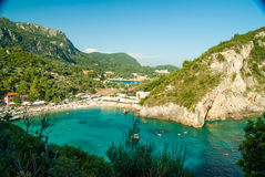 Paleokastritsa bay, Corfu Island, Greece. Summer view over the Ionian Sea, Paleokastritsa resort, Corfu Island, Greece, Europe Stock Image