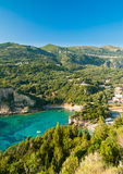 Paleokastritsa bay, Corfu Island, Greece. Summer view over the Ionian Sea, Paleokastritsa resort, Corfu Island, Greece, Europe Stock Images