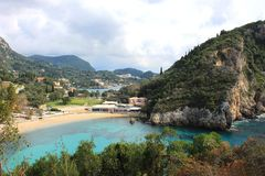 Paleokastritsa beach on Corfu, Greece. A picture of beautiful Paleokastritsa beach on Corfu Island, Greece Stock Photos