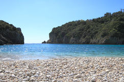 Paleokastritsa beach of Corfu Stock Images