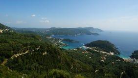 Paleokastritsa, console Corfu, mar Ionian, Greece Imagens de Stock Royalty Free