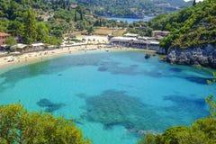 PALEOKASTRITSA, CORFU, GREECE - JULY 3, 2017: Beach Paleokastrit Stock Photos
