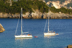 Paleokastritsa, eiland Korfu, Ionische overzees, Griekenland Stock Foto