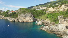 Paleokastritsa Greece Corfu Aerial 4K stock video footage