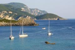 Paleokastritsa, Insel Korfu, ionisches Meer, Griechenland Lizenzfreie Stockfotos