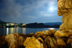 Paleokastritsa night Royalty Free Stock Photos
