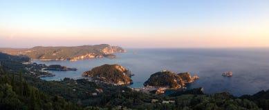 Paleokastritsa przy półmrokiem Corfu, Grecja (,) Zdjęcie Royalty Free