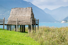 Paleolithic pile-dwelling. Near Ledro lake, unesco site in north Italy Stock Photos