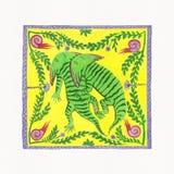 Paleontology. Illustration of Dinosaurs (Diplocaulus). Gouache on Paper Stock Photography