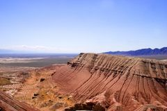 Paleontology mountains. Chine paleontology mountains Aktau and sandstone in desert in hot day , Asia,  view from top Stock Photo