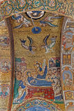 Palerme - mosaïque de la mort sainte de Mary sur le plafond de l'église du dell Ammiraglio de Santa Maria Images libres de droits