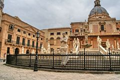 Palerme, Sicile, Italie, Fontana Pretoria, vieille ville, Photos libres de droits
