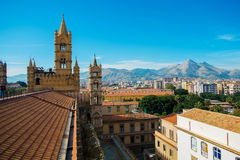 Palermo. Aerial view of Palermo from Santa Maria Assunta cathedral in Palermo, Sicily, Italy Royalty Free Stock Image