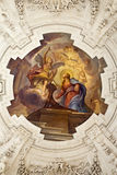 Palermo - Annunciation scene on ceiling of side nave in church La chiesa del Gesu Royalty Free Stock Photo
