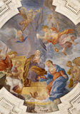 Palermo - Annunciation scene on ceiling of side nave in church La chiesa del Gesu Royalty Free Stock Photography