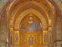 PALERMO - APRIL 9: Mosaiker av den huvudsakliga absid av den Monreale domkyrkan Kyrkan är det underbara exemplet av normandisk ar Royaltyfria Foton