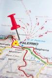 Palermo auf der Karte Lizenzfreie Stockfotos