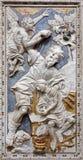 Palermo - barock lättnad av Abrahams provexemplar i kyrkliga Chiesa di Santa Caterina Arkivbilder