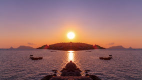 Palermo Bay Sunset. Sunset over the Bay of Palermo / Mirror Image Stock Image