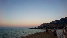 Palermo Beaches. Sunset on a sandy beach in sicily Stock Image