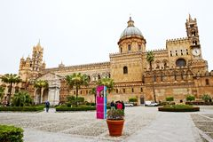 Palermo Cathedral, Cattedrale di Palermo, and Church of Santa Maria La Vetere. In Palermo, Sicily, Italy, seen from the courtyard stock images