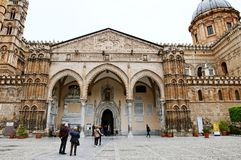 Palermo Cathedral, Cattedrale di Palermo, and Church of Santa Maria La Vetere. In Palermo, Sicily, Italy, seen from the courtyard stock image