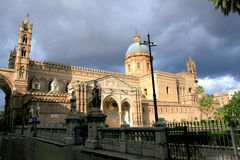 Palermo Cathedral On Cloudy Sky; Sicily, Italy Stock Images