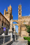 Palermo Cathedral, Sicily. Palermo, Sicily. Cathedral was built in Norman structure in 1179. Medieval Campanile in Gothic architecture style Stock Photos