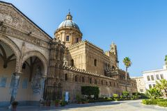 Palermo Cathedral in Palermo, Sicily, Italy. Facade of the cathedral of Palermo in the old town of Palermo in Sicily, Italy Royalty Free Stock Photo