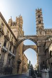 Palermo Cathedral in Palermo, Sicily, Italy. Facade of the cathedral of Palermo in the old town of Palermo in Sicily, Italy Stock Photo