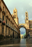 Palermo Cathedral street arch & towers, Italy Stock Images