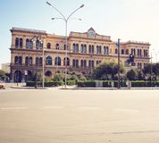 Palermo Central Train Station. Building with clock, Sicily, Italy stock photos